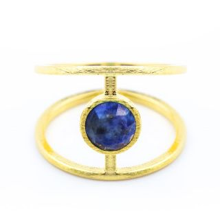 Gold with Blue Gemstone Ring Material Type : Gold Plated Alloy , blue gemstone…