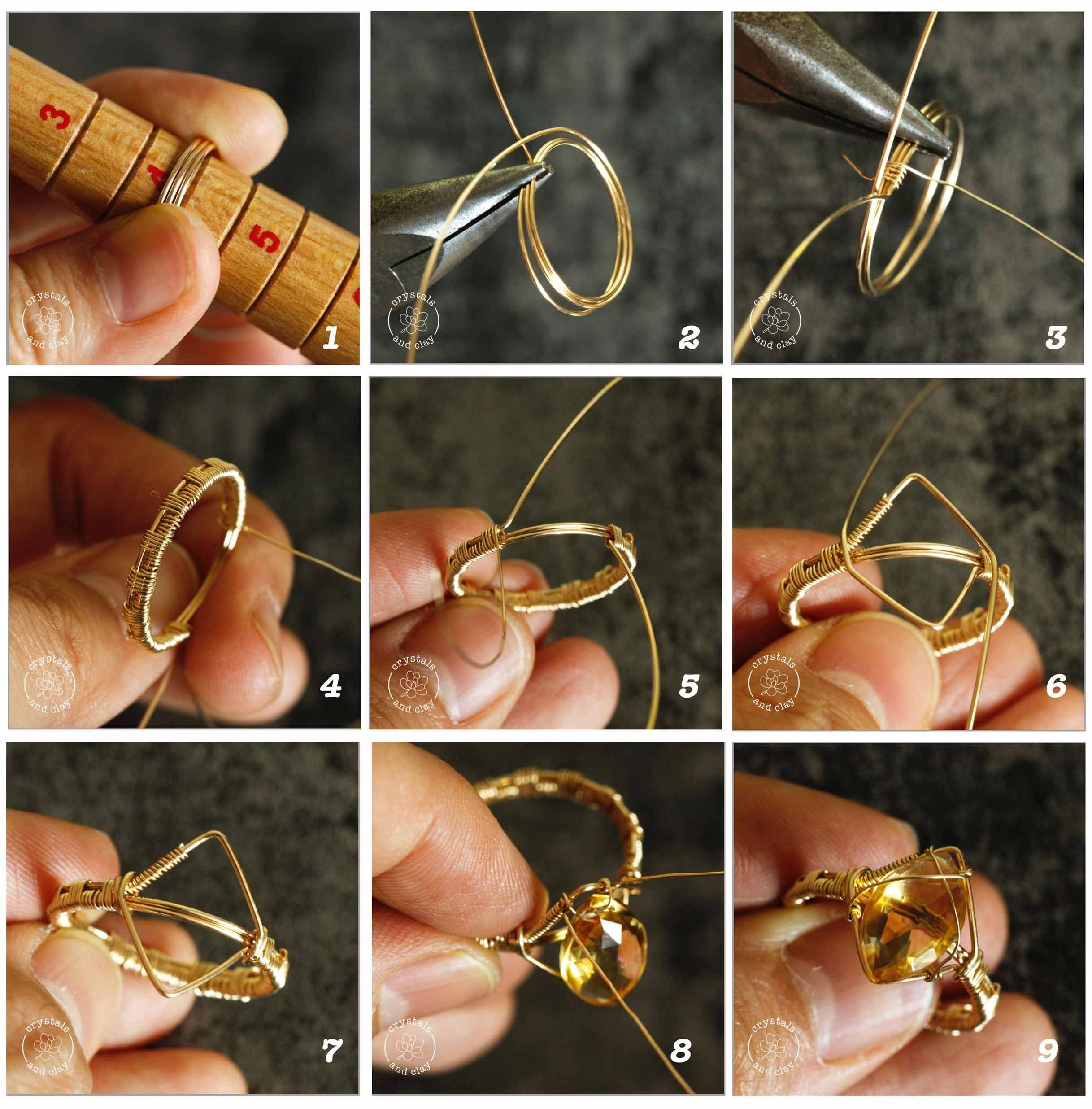 Photo of How to make wire wrapped rings for three different shape gemstones