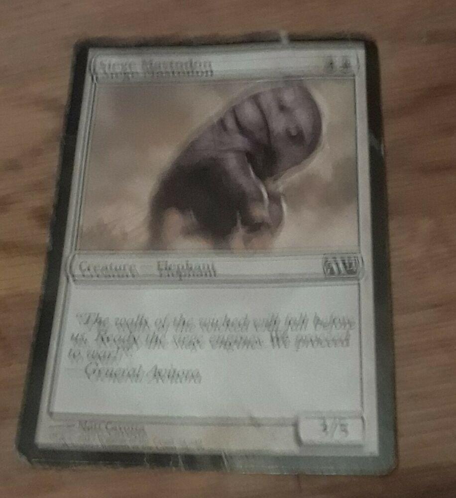 Siege Mastodon Card and Full Art Plains Magic The