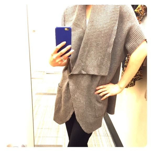 HOST PICKBCBGMAXAZRIA grey sweater cardigan Love this style and how it falls effortlessly. Unfortunately too big for me. Super warm and perfect for the colder weather to drape over anything! Size M/L BCBGMaxAzria Sweaters Cardigans