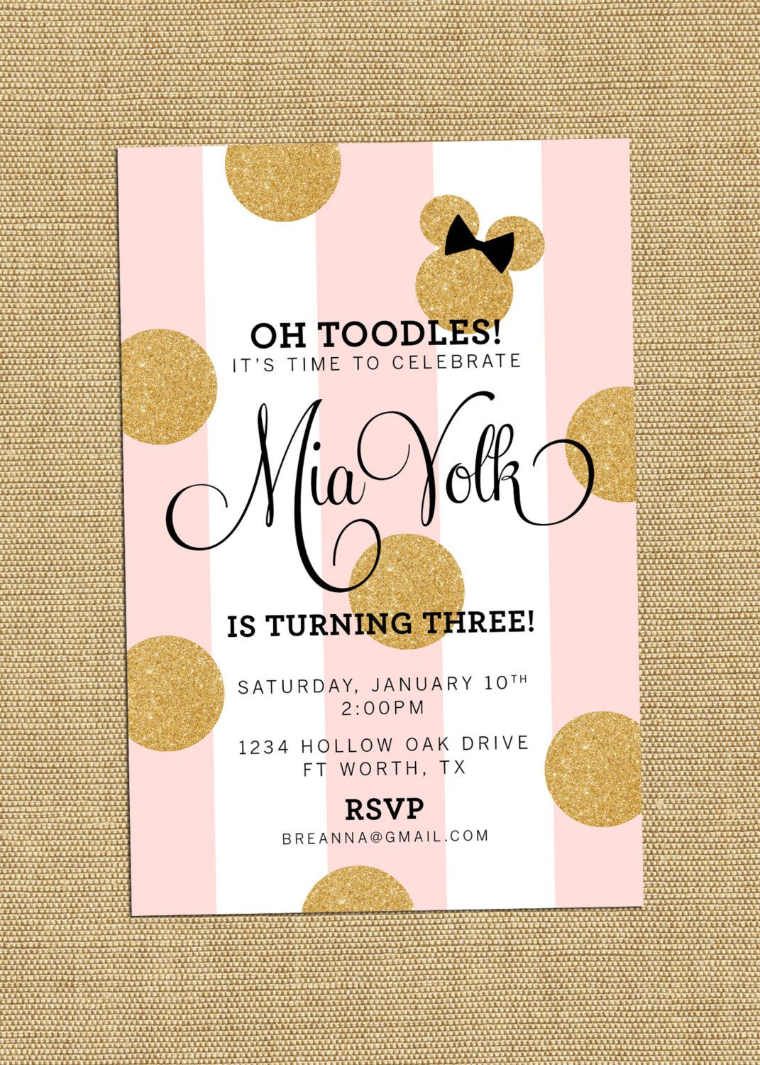 Minnie Mouse Party Invitation Mickey Minnie Party Invite Metallic