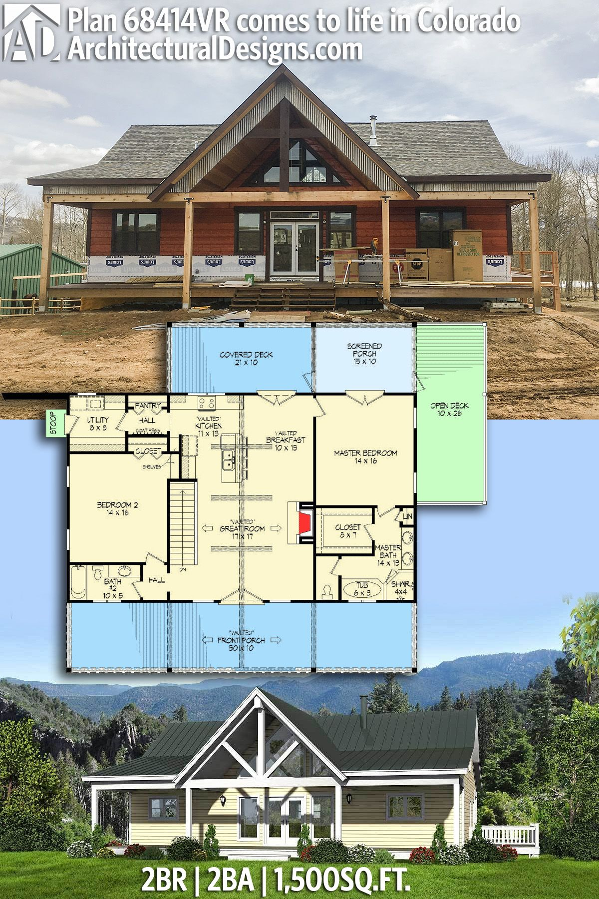 Plan 68414vr 2 Bed Ranch With Vaulted Great Room For A Sloping Lot Barn House Plans House Plans Farmhouse Pole Barn House Plans