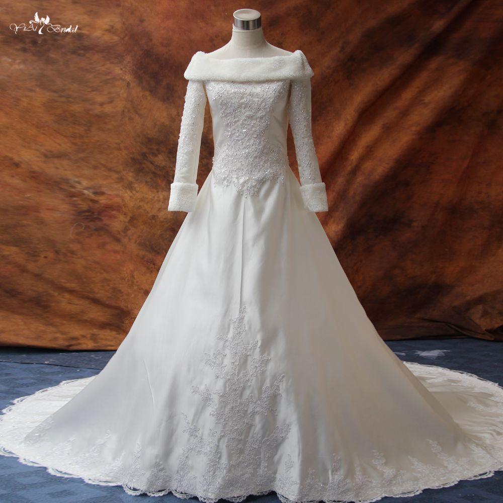Rsw long sleeve winter wedding dresses fur wedding dresses