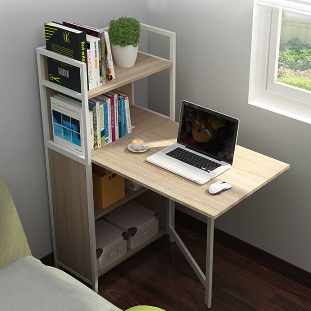 Life Carver Compact Computer Desk 4 Storage Shelves With Folding Laptop Desk Diy Corner Desk Home Office Cabinets Desk Storage
