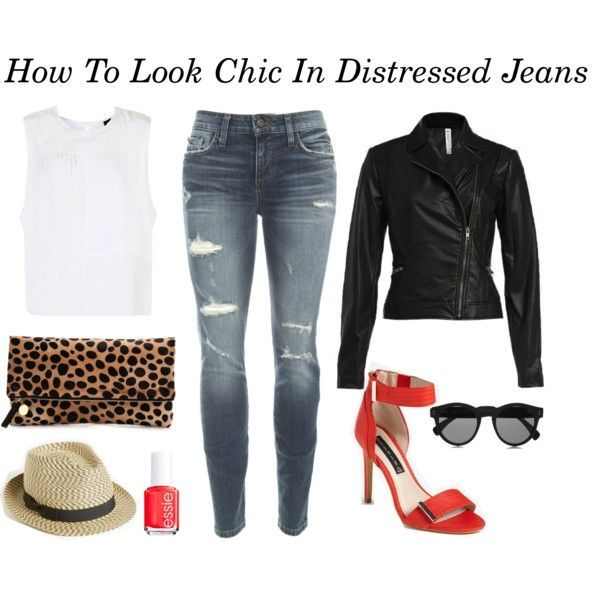 How To Look Chic In Distressed Jeans | STYLE'N (I don't do skinny jeans but an easy fix cuz love all the rest)