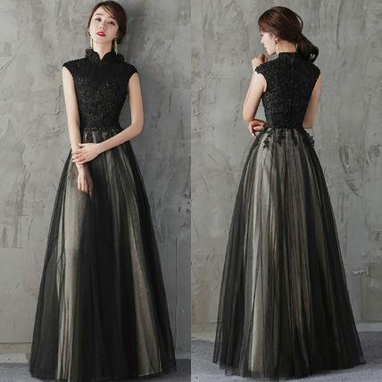 5c8dc1e731c1b ドレス-ロング スタンドカラー黒パーティードレス ブラック 結婚式 二次会 式典
