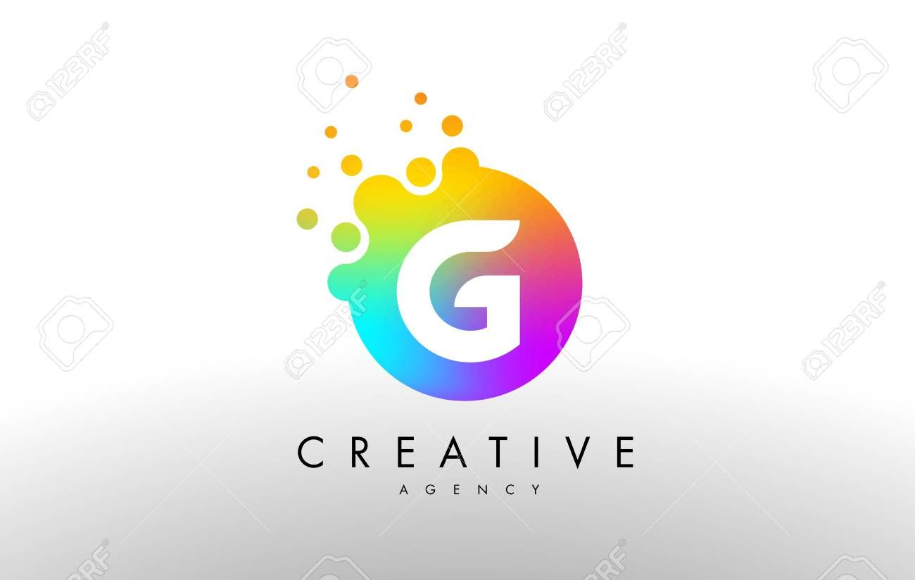 G Rainbow Dots Letter Logo Letter Design Vector With Colorful