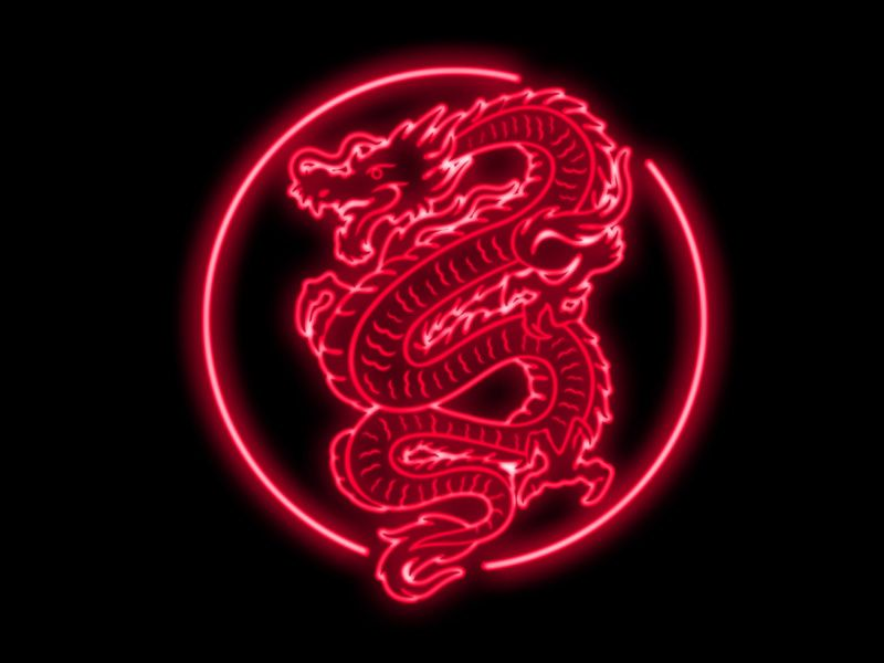 Neon Dragon Red Aesthetic Grunge Red Aesthetic Neon Wallpaper