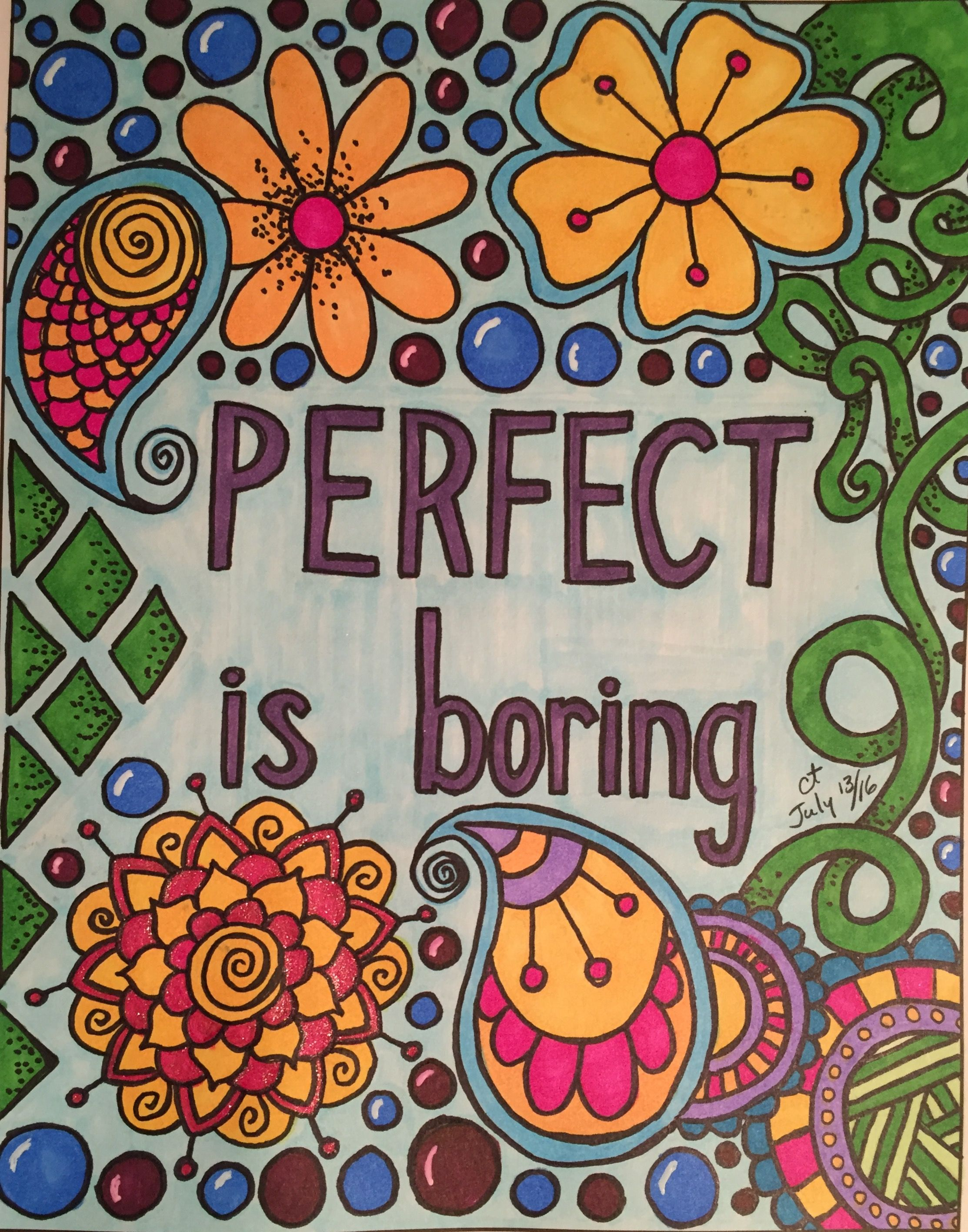 Perfect is boring book zendoodle coloring uplifting