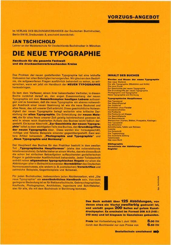 Jan Tschichold. Brochure for his book Die neue Typographie. 1928 ...