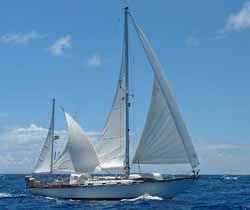 A Hinckley 42 yawl rig sailboat with mizzen staysail set on