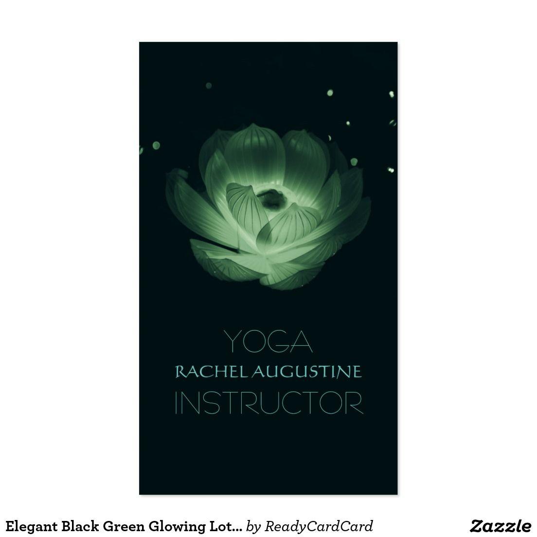 Elegant Black Green Glowing Lotus Yoga Instructor Business Card