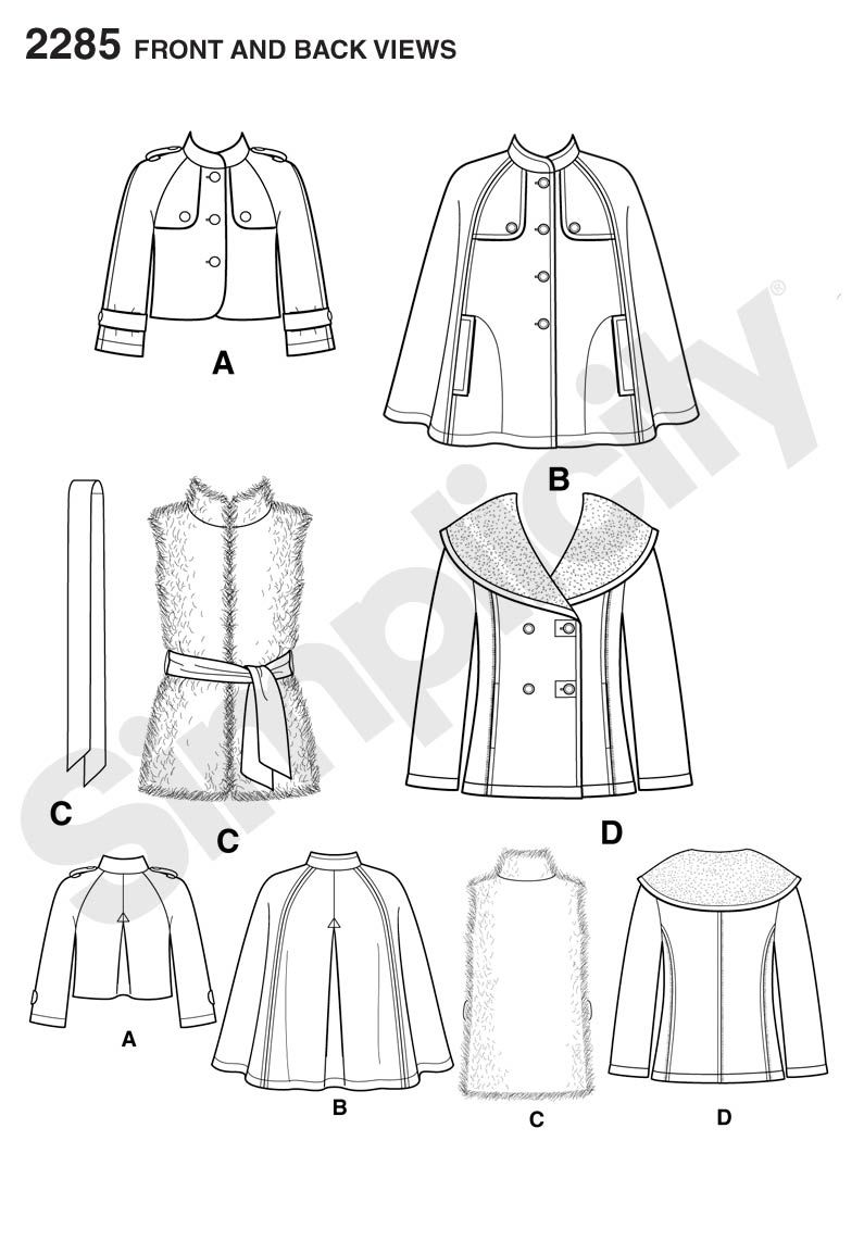 Womens cape, jackets and fur vest Sewing Pattern 2285 Simplicity ...