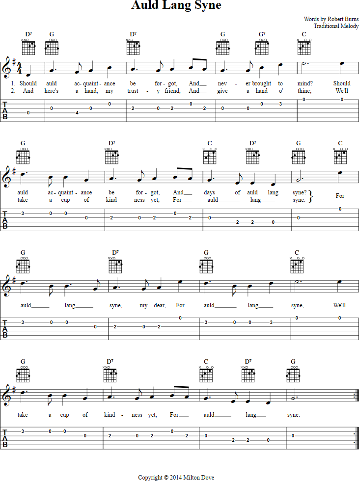 Auld Lang Syne Guitar Tab - http://chordzone.com/music/guitar/auld ...