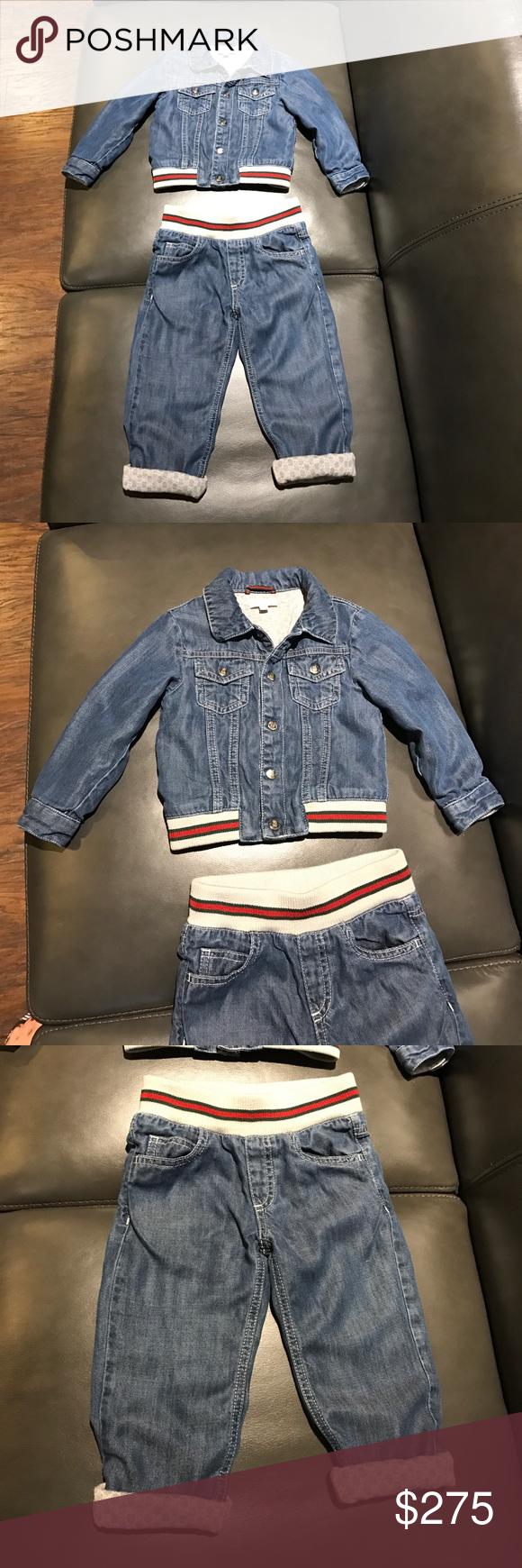 513c55799 Gucci baby boy soft denim jacket & jeans 18-24 m Authentic Gucci baby boy  signature soft denim jacket & jeans 18-24 months very good condition light  wear ...