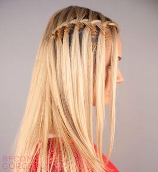 One Side Waterfall Braid Hairstyle So Cute Hair Styles Waterfall Braid Waterfall Braid Tutorial