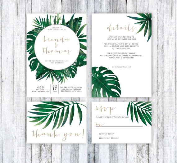Wedding invitation template tropical wedding invitation for Tropical wedding invitations