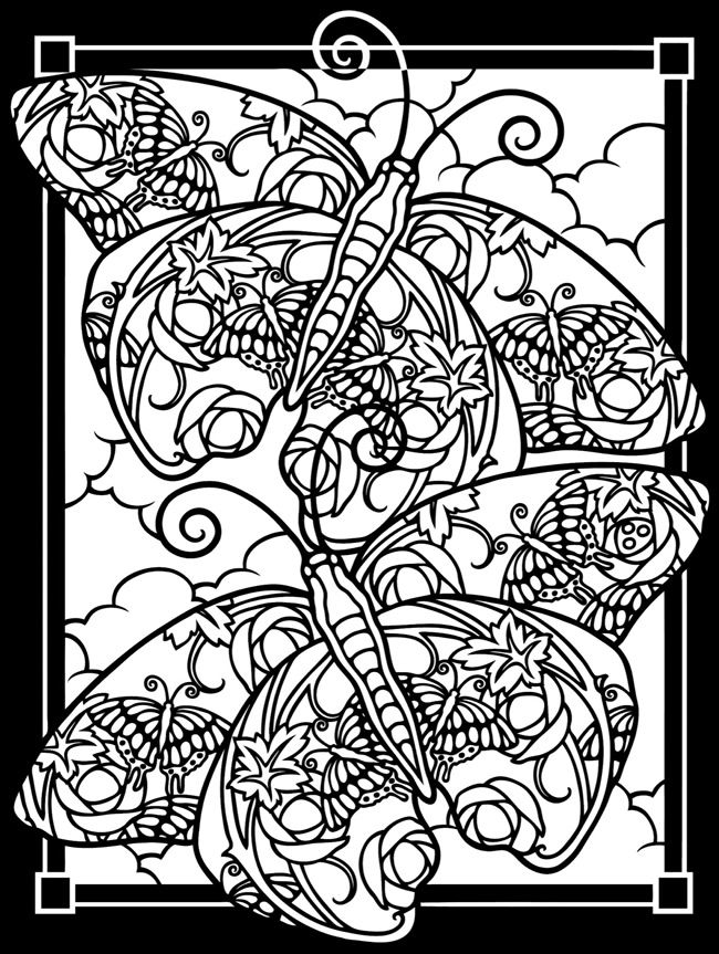 Fanciful Butterflies Stained Glass Coloring Book Dover Publications ...