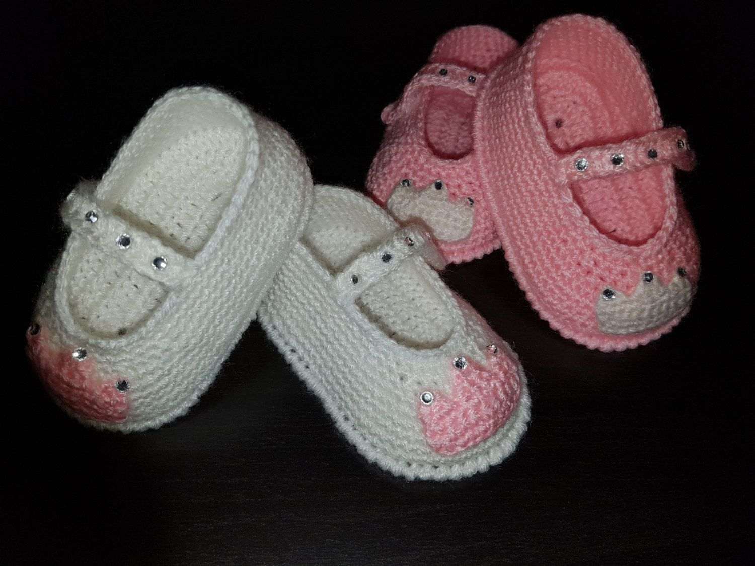 Crochet Princess shoes,Baby Girl Mary Jane shoes,Handmade baby shoes ...