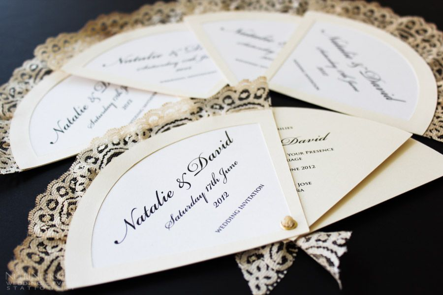 Love these fan shaped wedding invitations Unique Wedding
