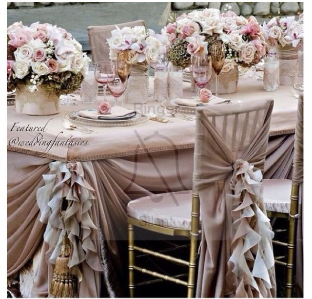 Ruffled chiffon chair covers Rubina wedding ideas