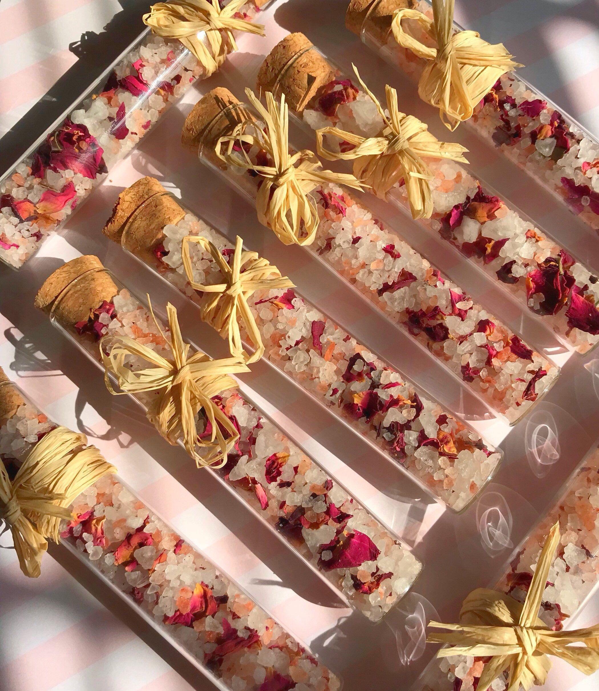 Organic Rose bath salt favors. Perfect favors for bridal showers ...