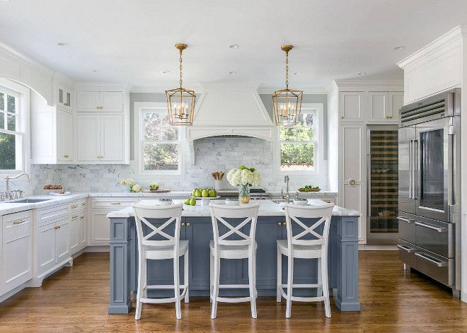 White Kitchen With Stacked Cabinets And Grey Island Home Bunch Interior Design Ideas White Kitchen Design Blue Kitchen Island Gray And White Kitchen