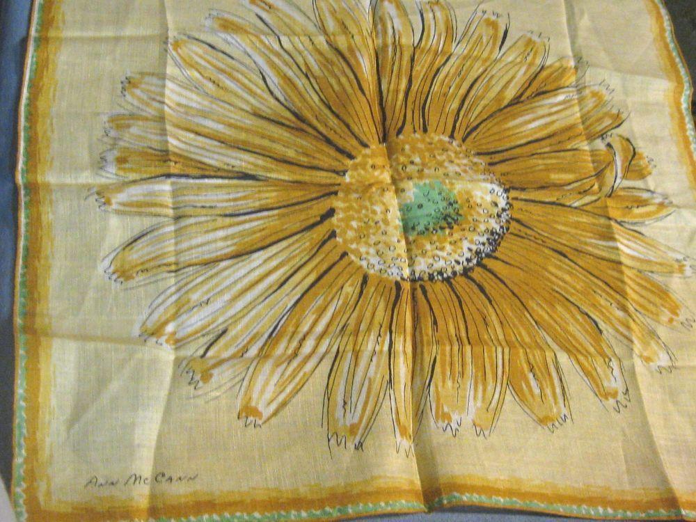 Vintage Ann McCann Ladie's Linen Handkerchief Hankie Sunflower Print Golds Green #AnnMcCann #DesignerArtist