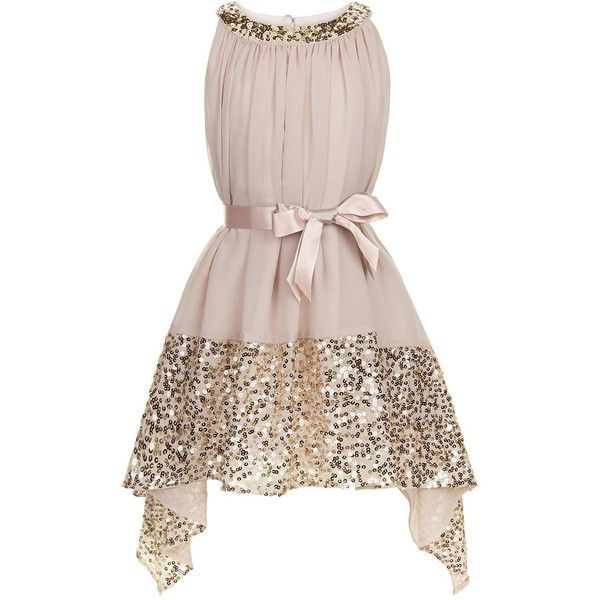 Monsoon Grace Midi Dress (182.585 COP) ❤ liked on Polyvore featuring dresses, pink sequined dresses, ruching dress, waterfall dress, sequin dress and midi dress