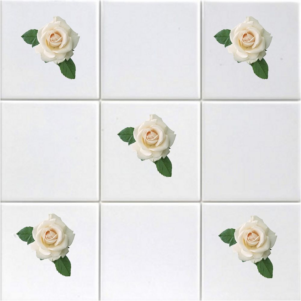 Printed vinyl white rose decal tile transfers for kitchen bathroom ...
