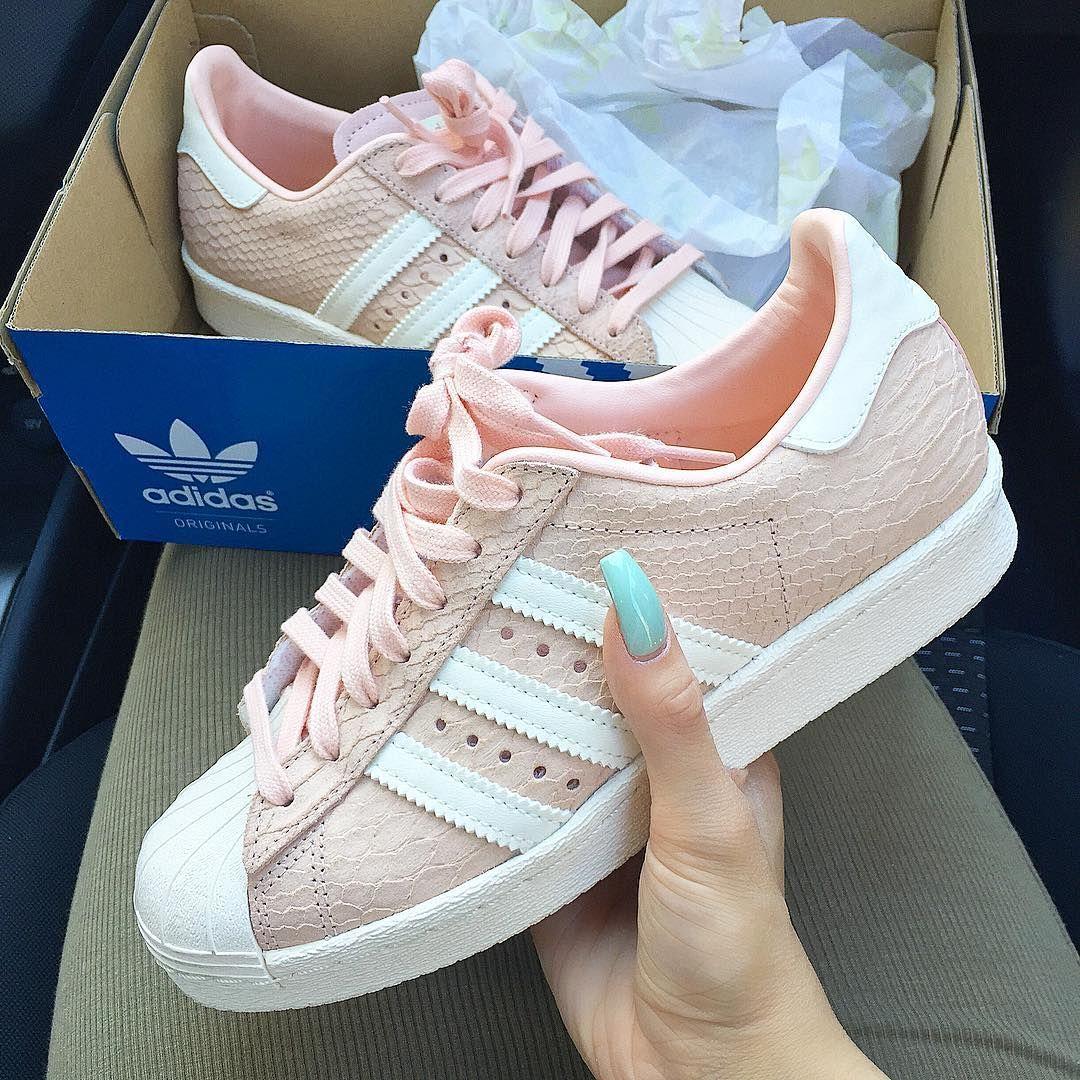 Pink snake skin Adidas shoes ♡ So cute!