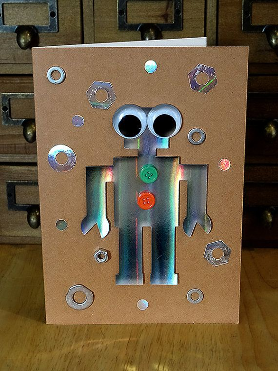 Handmade A5 Greetings Card Birthday Boy Robot Dads Wall E Greeting WallE Johnny Five