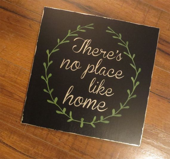 There's No Place Like Home rustic wood sign by WoodandLeaves