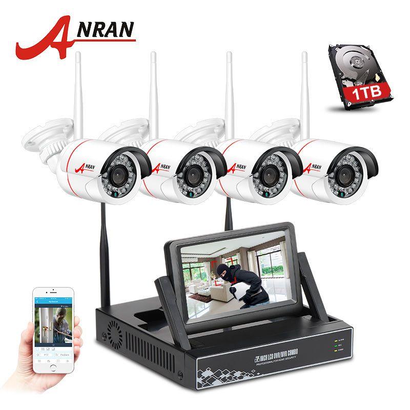 4CH 1080P WIFI NVR LCD Monitor Security Camera 720P 4 Video Surveillance Camera