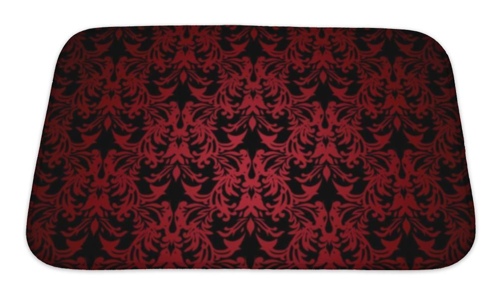 Bath Mat Floral Gothic Red Memory Foam Bath Mats Red Bath Mat