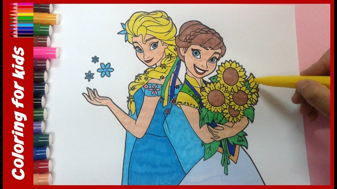 disney princess anna elsa frozen coloring pages with sunflowers ...
