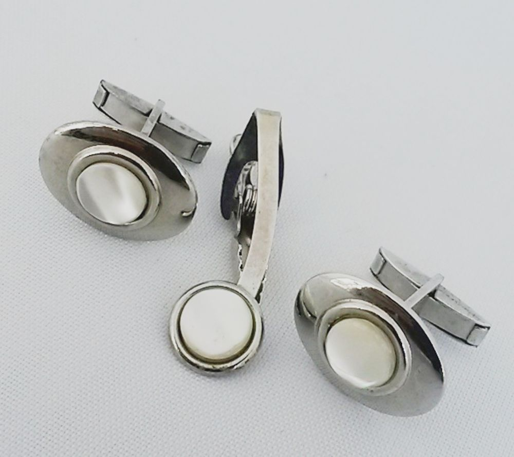 Vtg 1950s Atomic Mother Pearl Silver Tone Toggle Cuff Links amp Tie Bar Clasp Set