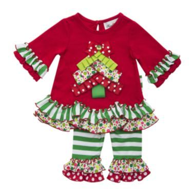 1bcee5c3d Rare Editions 2-pc. 3/4-Sleeve Pleated Tree Top and Leggings Set - Girls  2t-4t found at @JCPenney