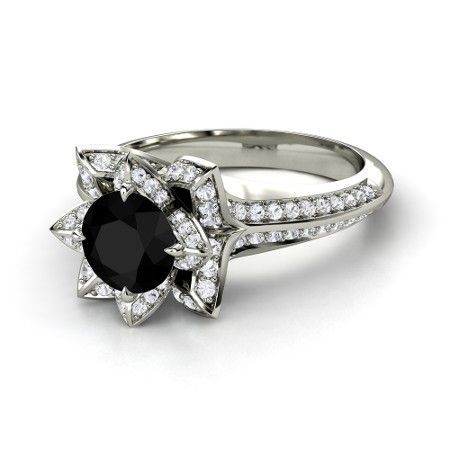 7e1a050a6f6 Brilliant Lotus Ring - Round Black Diamond 14K White Gold Ring with ...