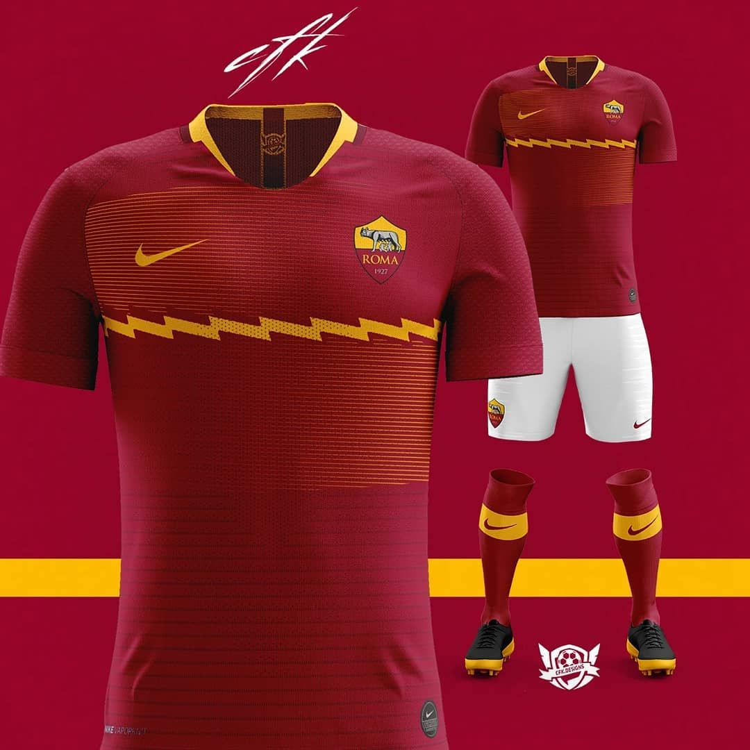 "23ff3c61c51 @cfk.designs on Instagram: ""2019/20 Nike kit for AS Roma Based: On leaks _  _ #asromabrasil #asroma1927 #asromaday #asromaprimavera #asromadaily ..."