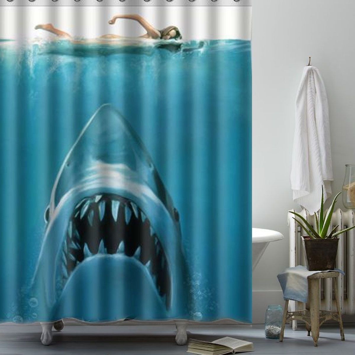 Animal Shower Curtains Shark Underwater Jaws Hunted Woman Shower