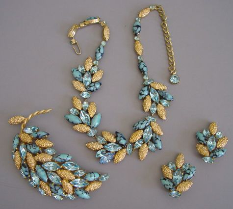 CAVINESS aqua art glass and  rhinestones 16 necklace, 3-5/8 brooch and 1-1/2 earrings.