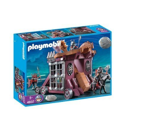 Playmobil 4837 Dragon Land Set: Giant Catapult with Cell by Playmobil. $54.95. Please note: This item may ship in the original manufacturer shipping carton which contains Playmobil logos as well as a tiny picture of the item enclosed. Please consider shipping to an alternate address if this is a gift.. 15.7 x 11.8 x 3.9 inches. Transport the prisoner and defend yourself from the enemy with the Giant Catapult with Cell. Includes four figures with armor, functioning giant...