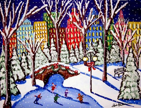 Ice Skaters in the City Winter Christmas Folk Art Landscape ...