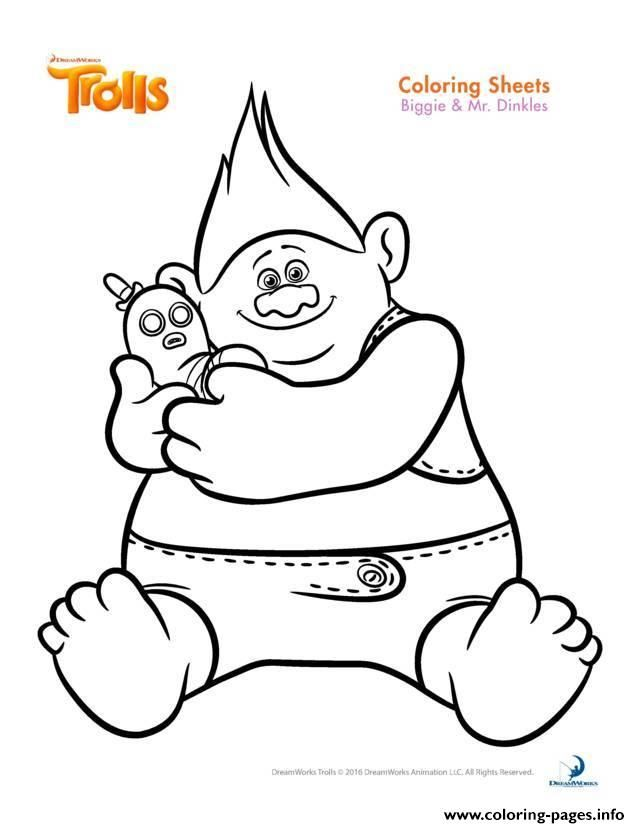 Print Biggie And Mr Dinkles Trolls Coloring Pages Poppy Coloring