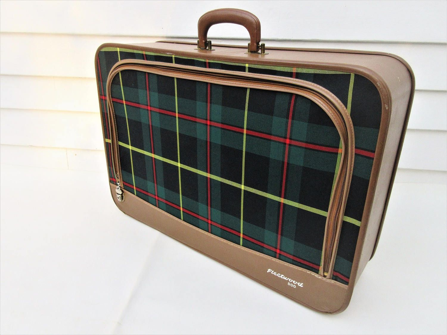Vintage Suitcase | Tartan Plaid Luggage | Zipper Tote Bag | Plaid Bag by WhimzyThyme on Etsy #etsymagazine #etsyfinds #plaidluggage #vintagesuitcase