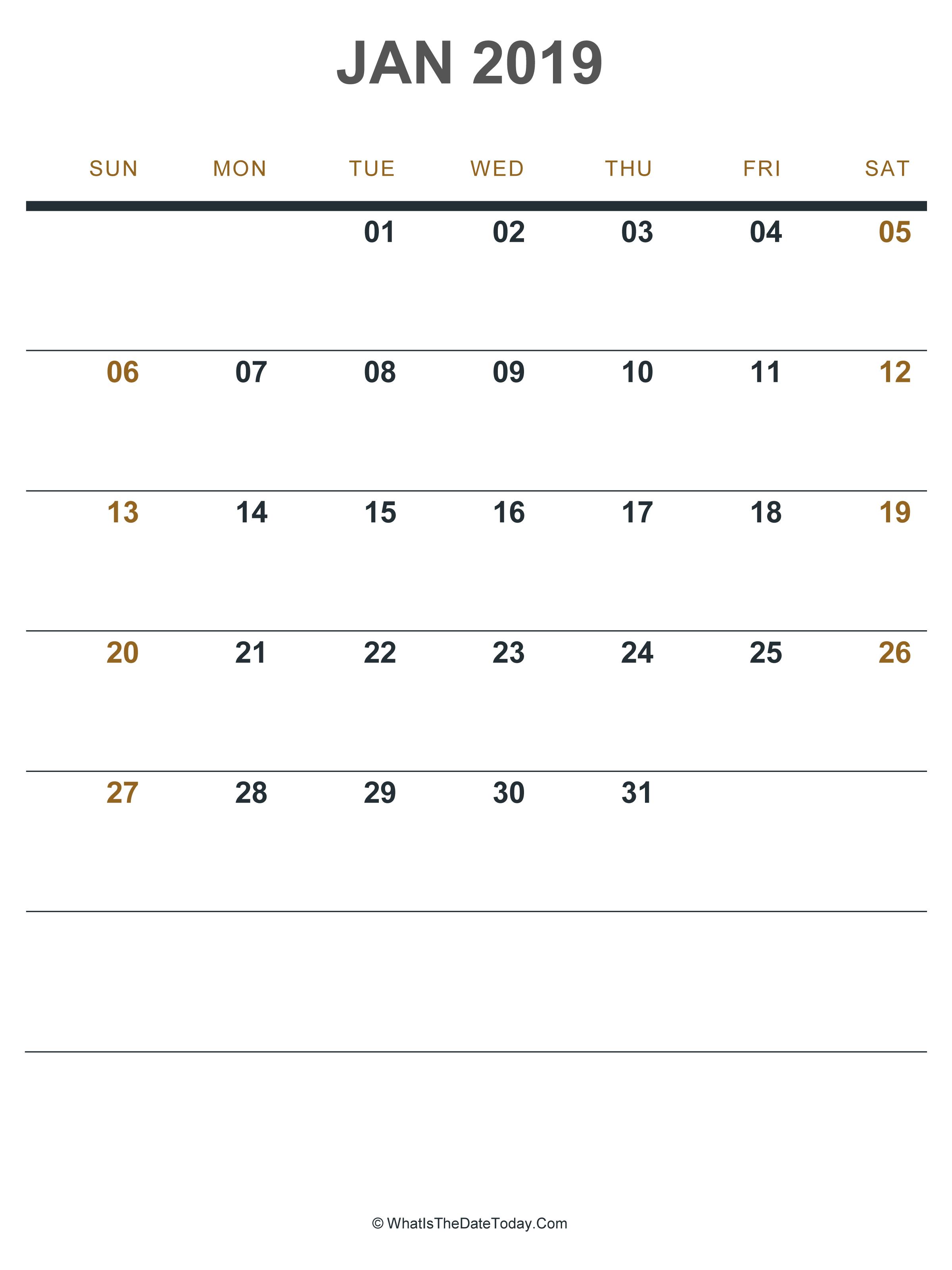 2019 January Calendar Portrait Printable January 2019 Calendar Portrait | Blank January 2019 Calendar