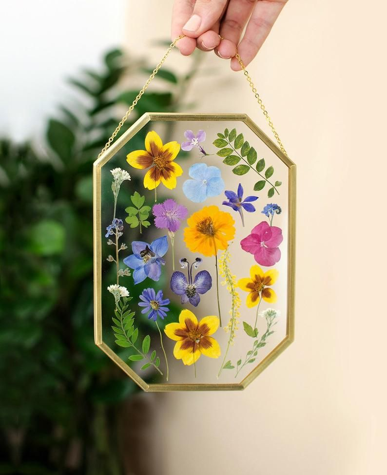 Framed pressed flowers Floating frame Dried flower art