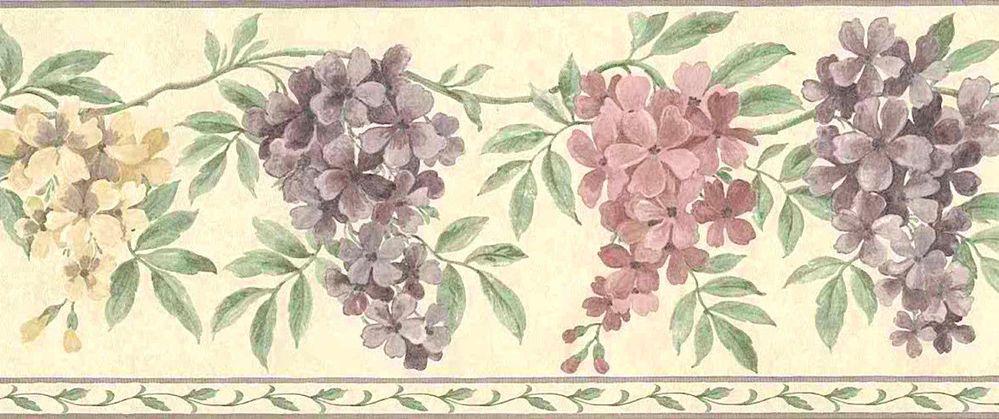 Purple Lilac Wallpaper Border Lavender Green Cream Textured Uk Brewster B3547