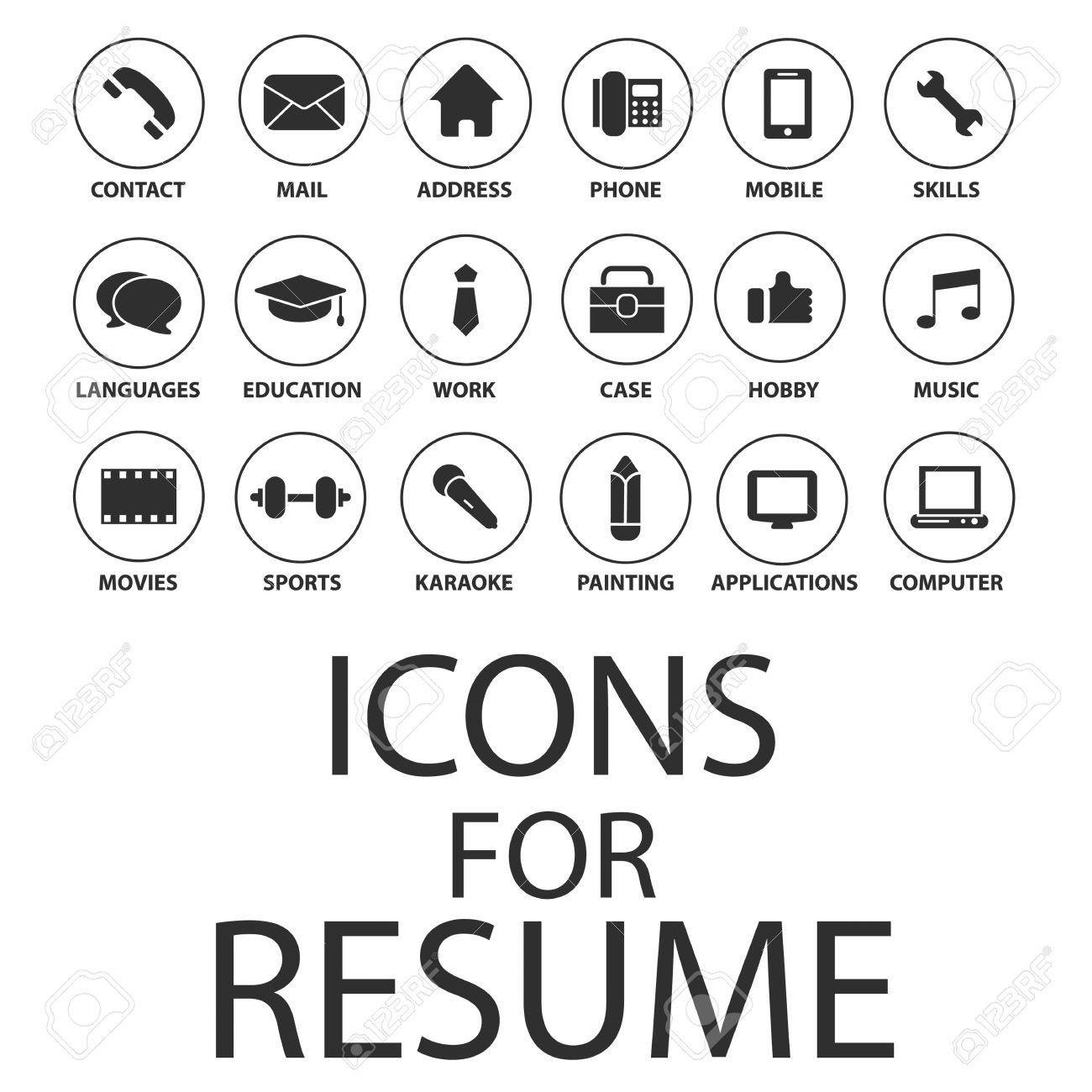 Icons set pour votre cv cv job clip art libres de droits for Free resume icons